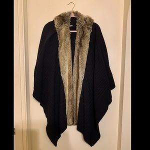 Faux fur trimmed wool wrap by Nordstrom